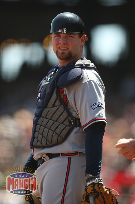 SAN FRANCISCO - AUGUST 6:  Brian McCann of the Atlanta Braves plays defense at catcher during the game against the San Francisco Giants at AT&T Park in San Francisco, California on August 6, 2008.  The Giants defeated the Braves 3-2.  Photo by Brad Mangin