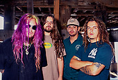 "SEPULTURA - L-R: Max Cavalera, Andreas Kisser, Paolo Jr, Igor Cavalera - photosession at the Indigo Ranch during the recording of the album ""Roots"" in Malibu Ca USA - Nov 1995.  Photo credit: George Chin/IconicPix"