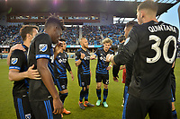San Jose, CA - Saturday April 14, 2018: San Jose Earthquakes huddle prior to a Major League Soccer (MLS) match between the San Jose Earthquakes and the Houston Dynamo at Avaya Stadium.