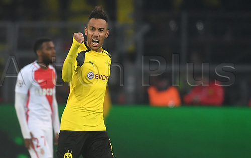 April 12th 2017, Dortmund, Germany;  Dortmund's Pierre-Emerick Aubameyang celebrates after a Dortmund goal makes the score 2:1 in Monaco's favour during the first leg of the Champions League quarter final match between Borussia Dortmund and AS Monaco in the Signal Iduna Park in Dortmund, Germany, 12 April 2017.