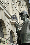 Statue of Sherlock Holmes outside Baker Street Underground Station, London, England