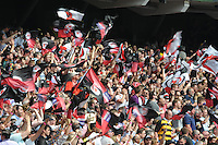 Saracens fans celebrate a try during the Aviva Premiership Rugby Final between Saracens and Exeter Chiefs at Twickenham Stadium on Saturday 28th May 2016 (Photo: Rob Munro/Stewart Communications)