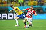 (L to R) <br /> Oscar (BRA), <br /> Luka Modric (CRO), <br /> JUNE 12, 2014 - Football /Soccer : <br /> 2014 FIFA World Cup Brazil <br /> Group Match -Group A- <br /> between Brazil 3-1 Croatia <br /> at Arena de Sao Paulo, Sao Paulo, Brazil. <br /> (Photo by YUTAKA/AFLO SPORT)
