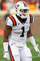 CHARLOTTESVILLE, VA- NOVEMBER 12: Safety Antone Exum #1 of the Virginia Tech Hokies warms up before the game against the Virginia Cavaliers on November 28, 2011 at Scott Stadium in Charlottesville, Virginia. Virginia Tech defeated Virginia 38-0. (Photo by Andrew Shurtleff/Getty Images) *** Local Caption *** Antone Exum