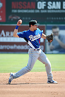 Jordan Tarsovich (6) of the Rancho Cucamonga Quakes makes a throw during a game against the Inland Empire 66ers at San Manuel Stadium on April 27, 2016 in San Bernardino, California. Rancho Cucamonga defeated Inland Empire, 2-1. (Larry Goren/Four Seam Images)