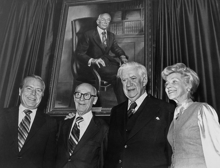 Rep. John Jacob Rhodes, R-Ariz., Rep. Charles Melvin Price, D-Ill., Rep. Tip O'Neill, D-Mass., and Mrs. Price. 1983 (Photo by Dev O'Neill/CQ Roll Call)