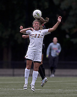 Boston College forward Stephanie Wirth (22) and NC State defender Shelli Spamer (24) battle for head ball.  Boston College defeated North Carolina State,1-0, on Newton Campus Field, on October 23, 2011.