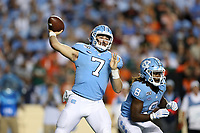 CHAPEL HILL, NC - SEPTEMBER 07: Sam Howell #7 of the University of North Carolina throws a pass during a game between University of Miami and University of North Carolina at Kenan Memorial Stadium on September 07, 2019 in Chapel Hill, North Carolina.
