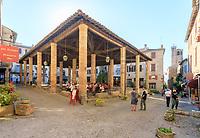 France, Tarn, Cordes sur Ciel, medieval village, Place de la Halle, medieval halle dated 15th century // France, Tarn (81), Cordes-sur-Ciel, place de la Halle, halle médiévale du XVe siècle