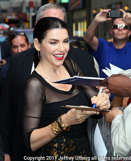 "Aug. 29, 2011 New York: Actress Julianna Margulies visits ""Late Show with David Letterman"" at the Ed Sullivan Theatre on August 29, 2011 in New York."