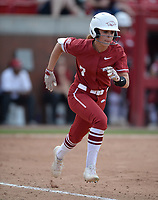 NWA Democrat-Gazette/ANDY SHUPE<br /> Arkansas center fielder Sydney Parr heads to first Wednesday, April 10, 2019, after hitting a single during the sixth inning at Bogle Park in Fayetteville. Visit nwadg.com/photos to see more photographs from the game.