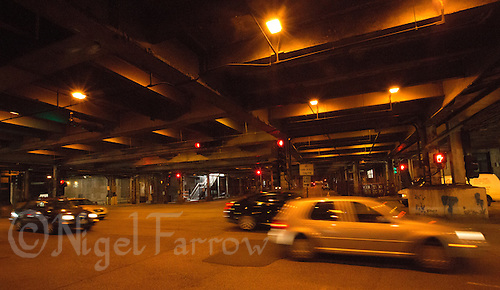 26 JUN 2014 - CHICAGO, USA - Lower Wacker Drive in Chicago in the USA. The road has been used in a number of films including The Blues Brothers and Batman Begins (PHOTO COPYRIGHT © 2014 NIGEL FARROW, ALL RIGHTS RESERVED)