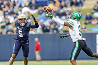 Annapolis, MD - October 26, 2019: Tulane Green Wave wide receiver Darnell Mooney (3) tries to catch pass being defended by Navy Midshipmen cornerback Michael McMorris (5) during the game between Tulane and Navy at  Navy-Marine Corps Memorial Stadium in Annapolis, MD.   (Photo by Elliott Brown/Media Images International)