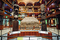 Hawaiian carved wooden deities Ku &  Kane displayed at the Bishop Museum, Honolulu