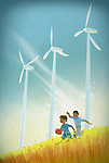 Illustration of boys playing with rugby ball in field against wind turbines