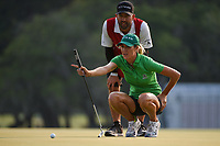 Jaye Marie Green (USA) lines up her putt on 18 during round 4 of the 2019 US Women's Open, Charleston Country Club, Charleston, South Carolina,  USA. 6/2/2019.<br /> Picture: Golffile | Ken Murray<br /> <br /> All photo usage must carry mandatory copyright credit (© Golffile | Ken Murray)