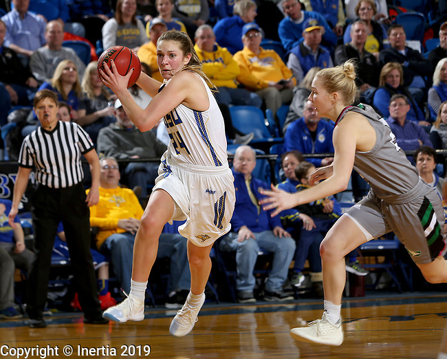 BROOKINGS, SD - FEBRUARY 9: Tagyn Larson #24 from South Dakota State University drives to the basket against the University of North Dakota during their game Saturday at Frost Arena in Brookings, SD. (Photo by Dave Eggen/Inertia)