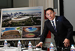 December 22, 2015, Tokyo, Japan - Kazumi Ohigashi, senior director of the Japan Sports Council, speaks during a news conference in Tokyo on Tuesday, December 22, 2015, announcing the winning design for the new National Stadium. The government picked the design by architect Kengo Kuma, putting an end to the longstanding brouhaha over the venue that is expected to be the centerpiece of the 2020 Tokyo Olympics.  (Photo by Natsuki Sakai/AFLO) AYF -mis-