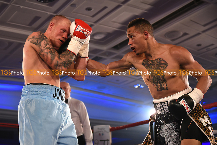 Morgan Jones (black shorts) defeats Adam Jones during a Boxing Show at the Royal Lancaster Hotel on 10th May 2017