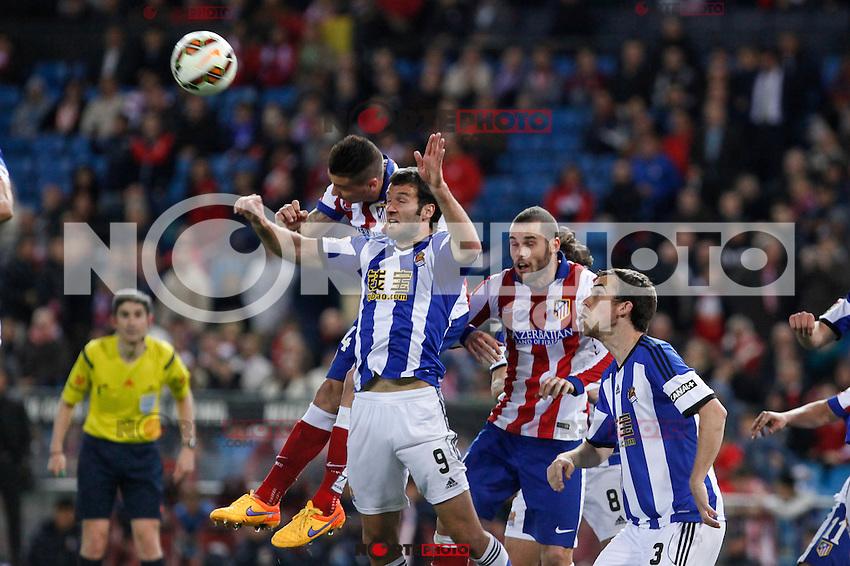 Atletico de Madrid´s Gimenez and Mario Suarez and Real Sociedad´s Agirretxe and Mikel during La Liga match at Vicente Calderon stadium in Madrid, Spain. April 07, 2015. (ALTERPHOTOS/Victor Blanco) /NORTEphoto.com