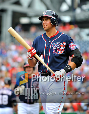 5 September 2011: Washington Nationals infielder Chris Marrero in action against the Los Angeles Dodgers at Nationals Park in Los Angeles, District of Columbia. The Nationals defeated the Dodgers 7-2 in the first game of their 4-game series. Mandatory Credit: Ed Wolfstein Photo
