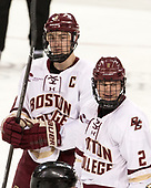 Chris Calnan (BC - 11), Scott Savage (BC - 2) - The visiting University of Vermont Catamounts tied the Boston College Eagles 2-2 on Saturday, February 18, 2017, Boston College's senior night at Kelley Rink in Conte Forum in Chestnut Hill, Massachusetts.Vermont and BC tied 2-2 on Saturday, February 18, 2017, Boston College's senior night at Kelley Rink in Conte Forum in Chestnut Hill, Massachusetts.