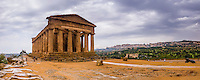 Agrigento, Valley of the Temples (Valle dei Templi), panoramic photo of Temple of Concordia, Sicily, Italy, Europe. This is a panoramic photo of The Temple of Concordia at The Valley of the Temples (Valle dei Templi) in Agrigento. The Valley of the Temples, and thus Temple of Concordia (Tempio della Concordia) are one of a number of UNESCO World Heritage Sites in Sicily, Italy.
