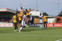Manny Parry of Wood with a header during Boreham Wood vs Dagenham & Redbridge, Vanarama National League Football at Meadow Park on 4th August 2018