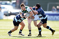 James Cordy-Redden of Ealing Trailfinders takes on the Bedford defence. Greene King IPA Championship match, between Ealing Trailfinders and Bedford Blues on April 20, 2019 at the Trailfinders Sports Ground in London, England. Photo by: Patrick Khachfe / Onside Images