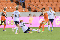 Houston, TX - Thursday Aug. 18, 2016: Victoria Huster, Stephanie Ochs during a regular season National Women's Soccer League (NWSL) match between the Houston Dash and the Washington Spirit at BBVA Compass Stadium.