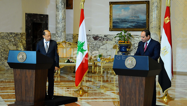 Egyptian President Abdel Fattah al-Sisi and Lebanese President Michel Aoun attend a joint a press conference at the Presidential palace in Cairo on February 13, 2017. Aoun started his first visit to Cairo since his election in October and held talks with Sisi and religious leaders. Photo by Egyptian President Office