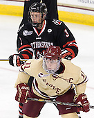 Josh Manson (NU - 3), Pat Mullane (BC - 11) - The Boston College Eagles defeated the visiting Northeastern University Huskies 3-0 after a banner-raising ceremony for BC's 2012 national championship on Saturday, October 20, 2012, at Kelley Rink in Conte Forum in Chestnut Hill, Massachusetts.