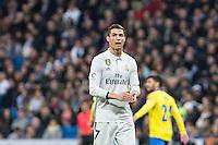 Cristiano Ronaldo of Real Madrid reacts  during the match of Spanish La Liga between Real Madrid and UD Las Palmas at  Santiago Bernabeu Stadium in Madrid, Spain. March 01, 2017. (ALTERPHOTOS / Rodrigo Jimenez) /NORTEPHOTOmex