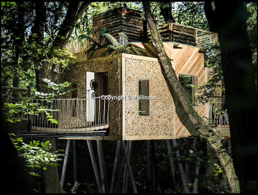 BNPS.co.uk (01202 558833)<br /> Pic: Mallinson/BNPS<br /> <br /> Release your inner Tarzan...in Britain's poshest treehouse.<br /> <br /> A luxury glamping site in deepest Dorset has created a luxurious treehouse that comes with its own sauna, hot tub, rotating fireplace and pizza oven.<br /> <br /> The Woodsman's Treehouse is perched 30ft from the ground on long stilts and has two floors. <br /> <br /> It has a spiral staircase and a stainless steel slide for quick access to the ground and can be rented out from £390 a night. <br /> <br /> It is located at the Crafty Camping glamping site at Holditch in west Dorset.