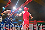 The Brawl in The Hall 2013, Joseph O'Flaherty for Abbeyfeale in blue fights Paddy Murphy for Mountcollins in red last Saturday night Fr Casey's Sports Complex, Abbeyfeale.