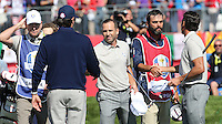 Sergio Garcia (Team Europe) secures a half on the final hole during the Saturday Morning Foursomes, at the 41st Ryder Cup 2016, at Hazeltine National Golf Club, Minnesota, USA.  01View of the 10th2016. Picture: David Lloyd | Golffile.