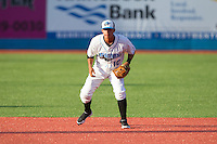 Hudson Valley Renegades third baseman Douglas Duran (10) on defense against the Brooklyn Cyclones at Dutchess Stadium on June 18, 2014 in Wappingers Falls, New York.  The Cyclones defeated the Renegades 4-3 in 10 innings.  (Brian Westerholt/Four Seam Images)