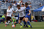 05 September 2015: Iona's Marcos Nunez (ESP)(7) and Duke's Markus Fjortoft (NOR) (right). The Duke University Blue Devils hosted the Iona University Gaels at Koskinen Stadium in Durham, NC in a 2015 NCAA Division I Men's Soccer match. Duke won the game 2-1.
