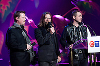 Sean McCann, Alan Doyle, Bob Hallett (left to right) of Great Big Sea, who will be performing at the Juno awards, attend the Juno stage unveiling, and answer questions. The 2009 Juno Awards airs Sunday, March 29th, 2009 (Scott Alexander/pressphotointl.com)