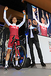 Tony Martin (GER) Team Katusha Alpecin with Jens Voigt on stage at the Team Presentation in Burgplatz Dusseldorf before the 104th edition of the Tour de France 2017, Dusseldorf, Germany. 29th June 2017.<br /> Picture: Eoin Clarke | Cyclefile<br /> <br /> <br /> All photos usage must carry mandatory copyright credit (&copy; Cyclefile | Eoin Clarke)