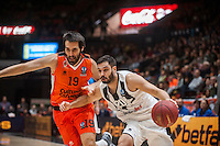 VALENCIA, SPAIN - JANUARY 6: Fernando San Emeterio and Uros Duvnjak during EUROCUP match between Valencia Basket and PAOK Thessaloniki at Fonteta Stadium on January 6, 2015 in Valencia, Spain