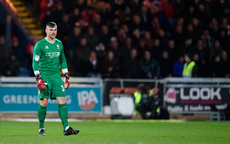 Lincoln City's Matt Gilks<br /> <br /> Photographer Chris Vaughan/CameraSport<br /> <br /> The EFL Sky Bet League Two - Mansfield Town v Lincoln City - Monday 18th March 2019 - Field Mill - Mansfield<br /> <br /> World Copyright © 2019 CameraSport. All rights reserved. 43 Linden Ave. Countesthorpe. Leicester. England. LE8 5PG - Tel: +44 (0) 116 277 4147 - admin@camerasport.com - www.camerasport.com