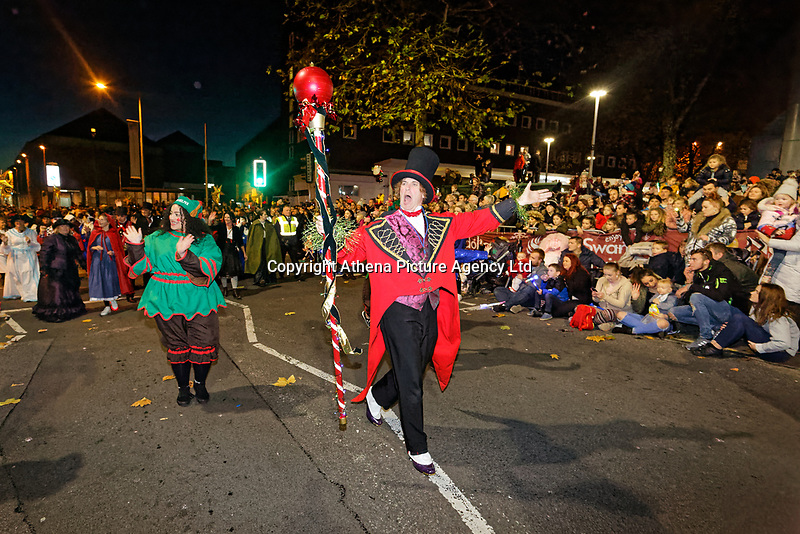 """Pictured: Tom and Pepe lead the Christmas parade in Swansea, Wales, UK. Sunday 19 November 2018<br /> Re: Swansea Christmas parade attended by thousands has been branded a """"shambles"""" for having just three floats.<br /> The annual festive event in south Wales, which took place on Sunday, promised """"dynamic dance-troupes"""" as well as """"spectacular shows and stages"""".<br /> But the parade was scaled down, leading to a barrage of criticism on social media because of roadworks in the city centre. <br /> The leader of Swansea Council, Rob Stewart apologised on Facebook and said the parade was not """"good enough"""".<br /> Parents took on social media to voice their anger, calling the event """"a load of rubbish"""" and claiming there was nothing for young children apart from """"a loud music float with Santa on""""."""