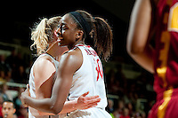 STANFORD, CA- FEBRUARY 9, 2012 - Nnemkadi Ogwumike celebrates on court during PAC-12 conference play against USC at Maples Pavilion on the Stanford campus. The Cardinal defeated the Trojans 69-52.