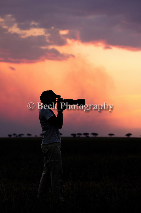 Shooting with the light at sunrise in Africa
