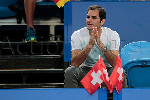 6th January 2018, Perth Arena, Perth, Australia; MasterCard Hopman Cup Tennis Final; Roger Federer of Team Switzerland urges Belinda Bencic on  against Angelique Kerber of Team Germany during the second set of the Final Kerber won 2 sets to 0