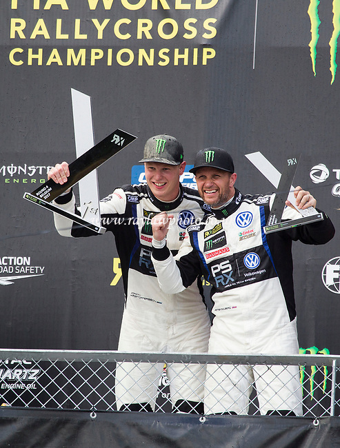 Team mates Johan Kristoffersson, PSRX Volkswagen, World RX Team Sweden and Petter Solberg, PSRX Volkswagen, World Team Sweden celebrate their 1 and 3 finish during WRX 2017 Round Four Race Day at Circuit Jules Tacheny on 14th May 2017