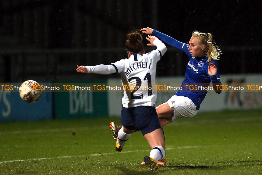 Inessa Kaagman of Everton women  fires over the bar under pressure from Emma Mitchell of Tottenham Hotspur women  during Tottenham Hotspur Women vs Everton Women, Barclays FA Women's Super League Football at the Hive Stadium on 12th February 2020