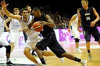 GRONINGEN - Basketbal, Donar - Vitautas, Champions League,  seizoen 2017-2018, 19-09-2017, Donar speler Jason Dourisseau met Vytautas  speler  Karlis Apsitis