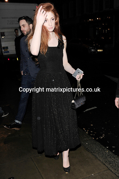 NON EXCLUSIVE PICTURE: MATRIXPICTURES.CO.UK<br /> PLEASE CREDIT ALL USES<br /> <br /> WORLD RIGHTS<br /> <br /> English singer and former Girls Aloud member, Nicola Roberts attending The BRIT Awards 2015 Warner Music Group afterparty, at The Freemasons' Hall in London. <br /> <br /> FEBRUARY 25th 2015<br /> <br /> REF: ASI 15640